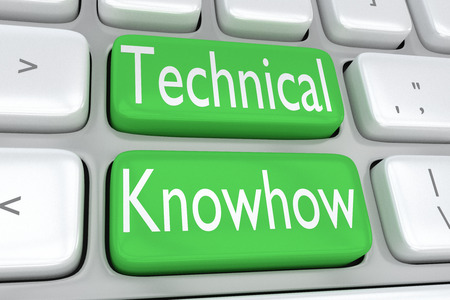 3D illustration of computer keyboard with the print Technical Knowhow on two adjacent green buttons Stock Photo