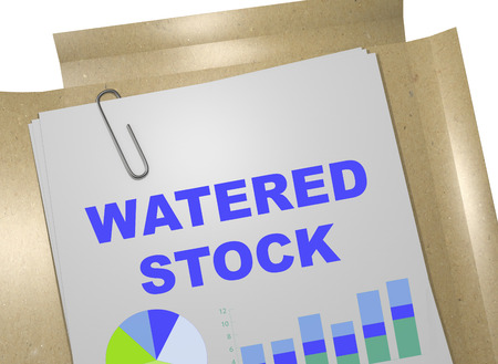 stagnation: 3D illustration of WATERED STOCK title on business document