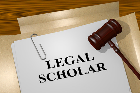 scholar: 3D illustration of LEGAL SCHOLAR title on legal document