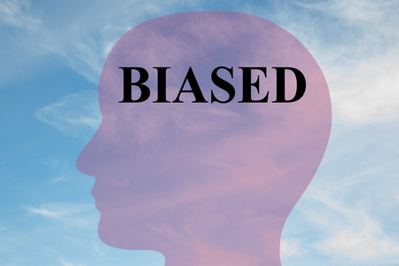 unjust: Render illustration of BIASED title on head silhouette, with cloudy sky as a background. Stock Photo