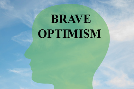 boldness: Render illustration of BRAVE OPTIMISM script on head silhouette, with cloudy sky as a background. Stock Photo