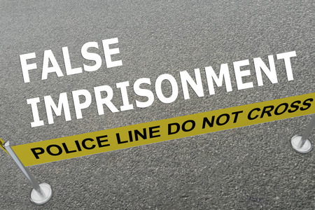 confine: 3D illustration of FALSE IMPRISONMENT title on the ground in a police arena Stock Photo