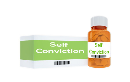 3D illustration of Self Conviction title on pill bottle, isolated on white. Banco de Imagens