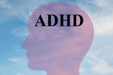 adhd: Render illustration of ADHD title on head silhouette, with cloudy sky as a background. Stock Photo