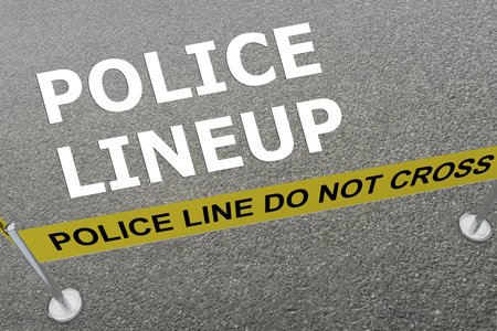 questioning: 3D illustration of POLICE LINEUP title on the ground in a police arena