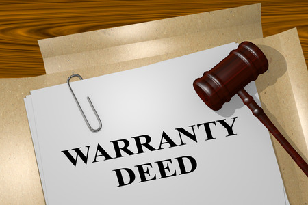 deed: 3D illustration of WARRANTY DEED title on legal document Stock Photo
