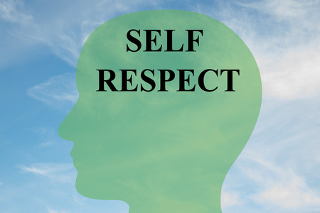 confrontational: Render illustration of SELF RESPECT script on head silhouette, with cloudy sky as a background.