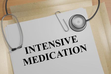 """Ilustración 3D del título """"MEDICINA INTENSIVA"""" en un documento"""