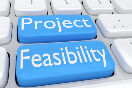 2 つの隣接する淡い青色のボタン上のスクリプト「プロジェクトの実現可能性」にコンピューターのキーボードの 3 d イラストレーション