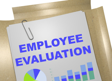 responsibility survey: 3D illustration of EMPLOYEE EVALUATION title on business document