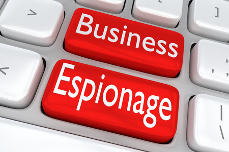 3D illustration of computer keyboard with the print Business Espionage on two adjacent red buttons Stock Photo