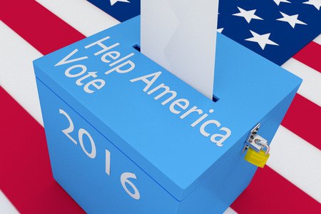 polling: 3D illustration of Help America Vote, 2016 scripts and on ballot box, with US flag as a background.