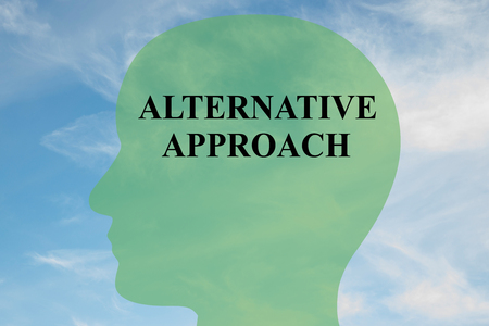 approach: Render illustration of ALTERNATIVE APPROACH script on head silhouette, with cloudy sky as a background. Stock Photo