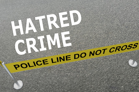 3D illustration of HATRED CRIME title on the ground in a police arena