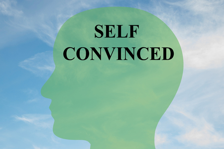 objection: Render illustration of SELF CONVINCED script on head silhouette, with cloudy sky as a background. Stock Photo