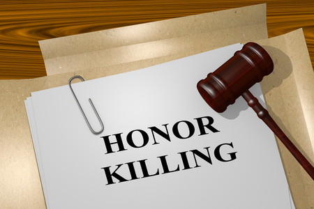 certainty: 3D illustration of HONOR KILLING title on legal document Stock Photo