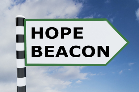 beacon: 3D illustration of HOPE BEACON script on road sign Stock Photo
