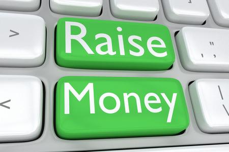 印刷を上げるお金を2 つの隣接する緑ボタンでコンピューターのキーボードの 3 D イラストレーション 写真素材