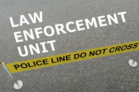 police unit: 3D illustration of LAW ENFORCEMENT UNIT title on the ground in a police arena