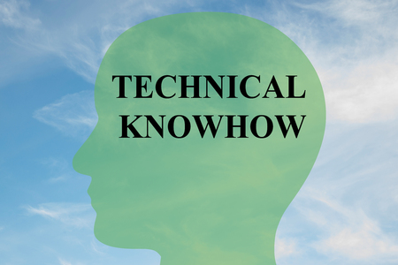 knowhow: Render illustration of TECHNICAL KNOWHOW script on head silhouette, with cloudy sky as a background.