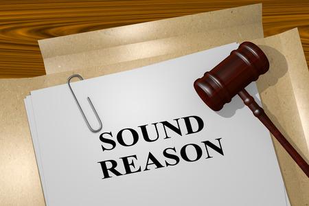"""hipotesis: Ilustración 3D del título de """"buena razón"""" en el documento legal Foto de archivo"""