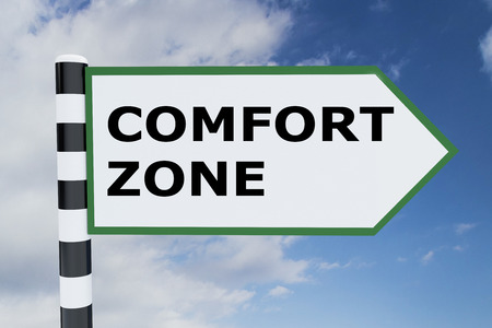 familiarity: 3D illustration of COMFORT ZONE script on road sign Stock Photo