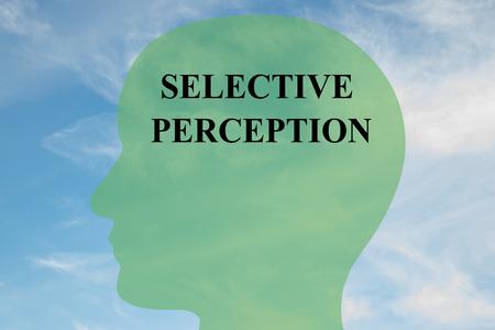 """percepción: Hacer la ilustración de la escritura de """"percepción selectiva"""" en la silueta de la cabeza, con el cielo nublado como fondo."""