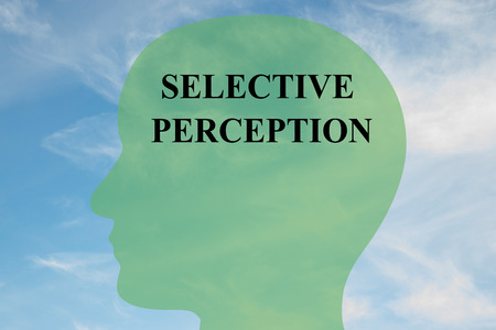 Render illustration of SELECTIVE PERCEPTION script on head silhouette, with cloudy sky as a background.