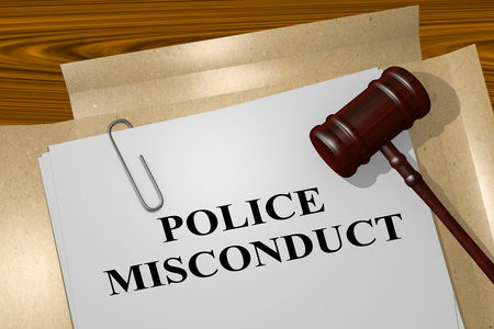intimidation: 3D illustration of POLICE MISCONDUCT title on legal document Stock Photo