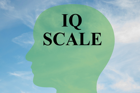 iq: Render illustration of IQ SCALE script on head silhouette, with cloudy sky as a background.