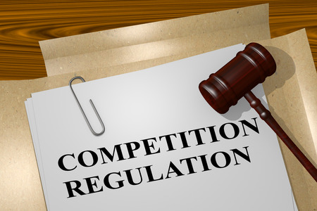 competitions: 3D illustration of COMPETITION REGULATION title on legal document