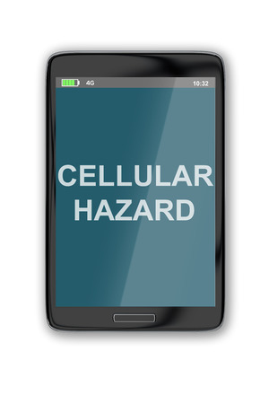 cellular: 3D illustration of CELLULAR HAZARD title on cellular screen, isolated on white. Stock Photo