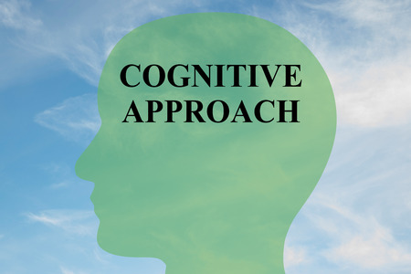 Render illustration of COGNITIVE APPROACH script on head silhouette, with cloudy sky as a background. Stock Photo