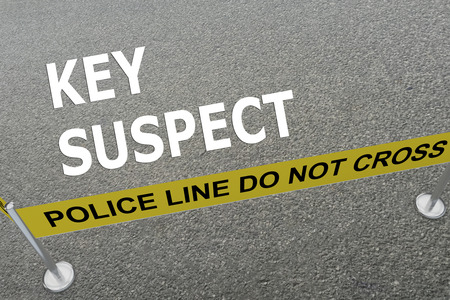 trickster: 3D illustration of KEY SUSPECT title on the ground in a police arena Stock Photo