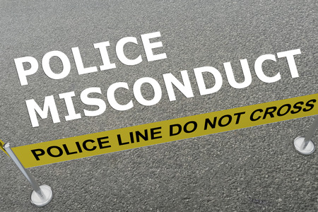 3D illustration of POLICE MISCONDUCT title on the ground in a police arena