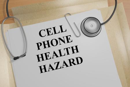 ドキュメントの「携帯電話健康ハザード」タイトルの 3 D イラストレーション 写真素材