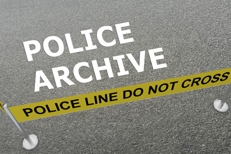 theft proof: 3D illustration of POLICE ARCHIVE title on the ground in a police arena