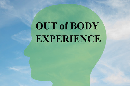 psychic: Render illustration of OUT of  BODY EXPERIENCE script on head silhouette, with cloudy sky as a background.