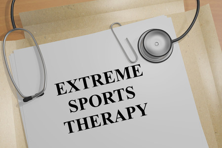 3D illustration of EXTREME SPORTS THERAPY title on a document