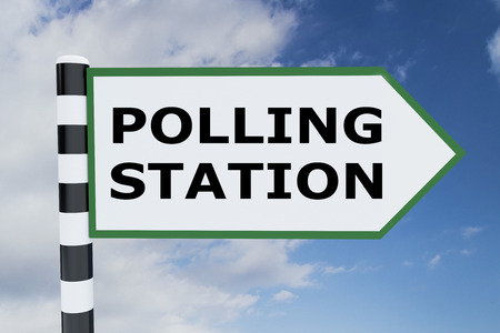 polling station: 3D illustration of POLLING STATION script on road sign Stock Photo