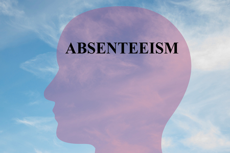 Render illustration of ABSENTEEISM title on head silhouette, with cloudy sky as a background. Stock Photo