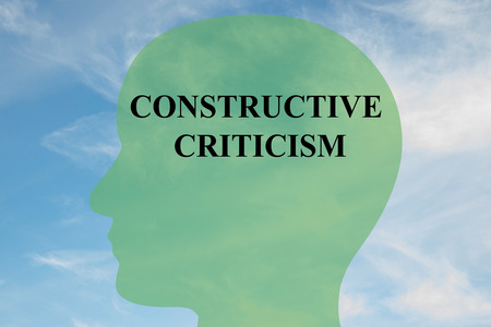 constructive: Render illustration of CONSTRUCTIVE CRITICISM script on head silhouette, with cloudy sky as a background.
