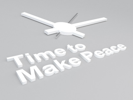truce: 3D illustration of Time to Make Peace title with a clock as a background