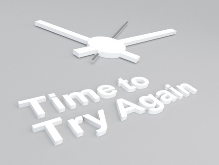 try: 3D illustration of Time to Try Again title with a clock as a background Stock Photo