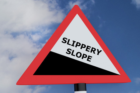 skidding: 3D illustration of SLIPPERY SLOPE script on road sign