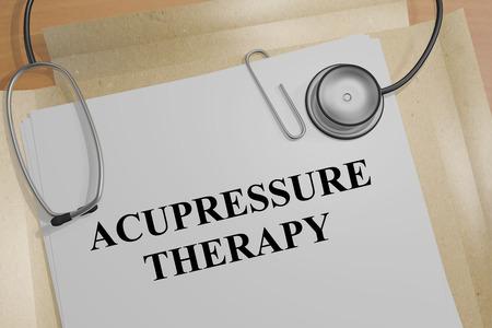 """3D illustratie van """"ACUPRESSURE therapie"""" titel op een document Stockfoto"""