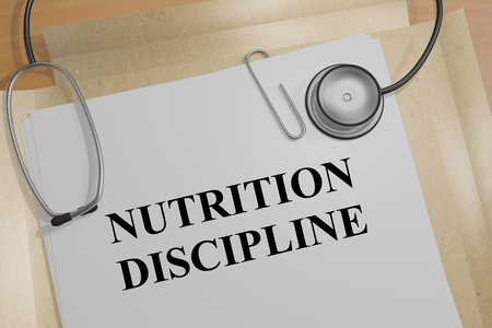 discipline: 3D illustration of NUTRITION DISCIPLINE title on a document Stock Photo