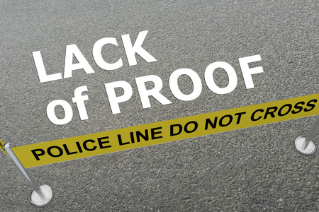 lack: 3D illustration of LACK of PROOF title on the ground in a police arena Stock Photo