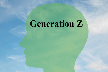 Render illustration of Generation Z script on head silhouette, with cloudy sky as a background.