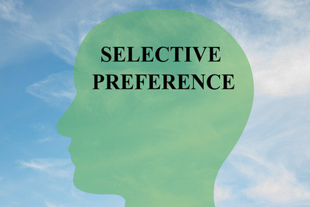 preference: Render illustration of SELECTIVE PREFERENCE script on head silhouette, with cloudy sky as a background.